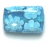 Glass Beads 17x11mm Rectangle Flat Aqua With Flower